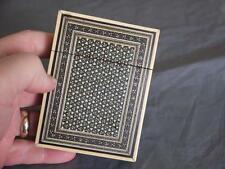 SUPERB 1890c ANTIQUE ANGLO SADELI MICRO MOSAIC INLAID CEDAR LINED CARD CASE