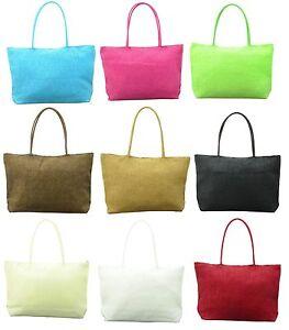 Straw Weave Shoulder Tote Shopping Beach Bag Purse Handbag Fashion Women Summer