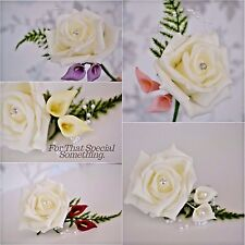 Wedding rose flower buttonhole corsage lilac white ivory pink peach callalily