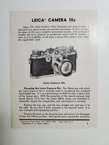 1947 Instruction  Leica IIIc Users Brochure NO Reserve