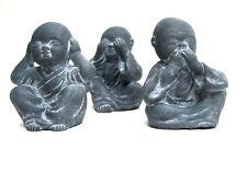 3 junge Buddhas nicht sehen hören sprechen Feng Shui Buddha Mönch Affen Steinguß