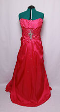TONY BOWLS DARK PINK JEWELED TAFFETA CORSET HALTER PROM FORMAL GOWN DRESS 30