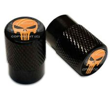 2 Black Aluminum Knurled Motorcycle Valve Caps - ORANGE PUNISHER SKULL TT076