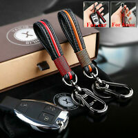 Men Car KeyChain Leather Metal Keyrings Purse Bag Key Chain Ring Straps keyfob