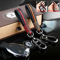 Men Car KeyChain Leather Metal Keyrings Purse Bag Key Chain Ring Straps keyfob