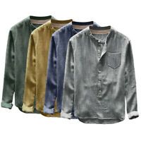 Men Long Sleeve Button Down Blouse Tops Formal Work Plus Size Baggy Retro Shirt