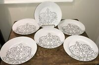 EVERYDAY LUXE A HOTEL COLLECTION LOT OF 6 SALAD DESSERT PLATES GRAY SCROLL EUC