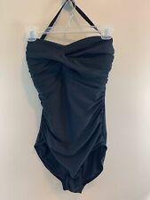 Paper Denim & Cloth Black Ruched One Piece Swim Bathing Suit SZ 10