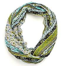 J.Jill  Floral Vines Infinity  Scarf   NWT  snap pea blossom stripe