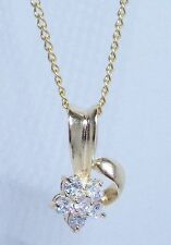 14K GOLD EP ROUND CUT DIAMOND SIMULATED FLOWER NECKLACE WITH 24 inch CHAIN