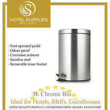 3L CHROME BATHROOM PEDAL BIN - IDEAL FOR HOTELS, B&B, GUESTHOUSES
