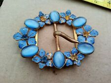 Blue Set And Painted Floral Metal Buckle