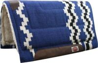 """Showman BLUE 36"""" x 34"""" Wool Top Western Cutter Style Saddle Pad! HORSE TACK!"""