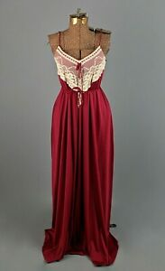 VTG Women's 70s Red Maxi Dress W Lace Sz S 1970s Disco Joy Stevens