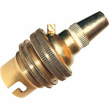 Bayonet Cap B22 Earthed Pendant Bulb Holder in Polished Brass + Metal Grip