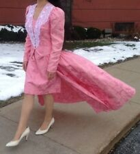 Vintage Sz. 10 Victorian Inspired 80's 2 pc Pink Brocade Sweetheart Dress Coat