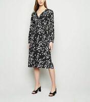 New Look Dress Size 8 & 12 Black Floral V Neck Midi Belted Wrap Dress EZ46