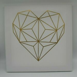 Gold Geometric Modern Abstract Heart on White Canvas - Single Canvas wall art