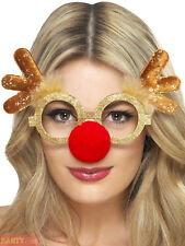 Smiffys Reindeer Comedy Specs With Antlers and Attached Nose