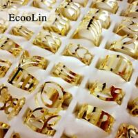 100pcs Gold Style Iron Alloy Rings Fashion Lots Mixed Women Wholesale Jewelry