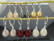 Paar Brisuren Ohrringe 925 Sterling Silber Muschelkern Perlen Tropfen Ohrhänger