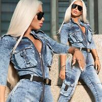 By Alina Mexton Damen Jeans Overall Jumpsuit Jeansanzug  Einteiler Catsuit XS-M