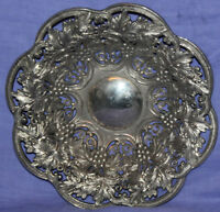 Vintage ornate grapes floral metal bowl