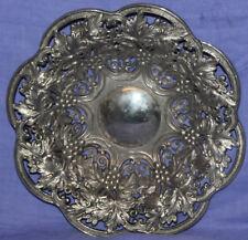 Vintage ornate grapes floral metal bowl