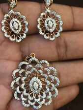Pave 3.41 Cts Round Brilliant Cut Diamonds Pendant Earrings Set In 14K Rose Gold