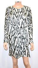 KATE SYLVESTER 100% Silk Charmeuse Long Sleeve Drawstring Wrap Dress - Sz Medium