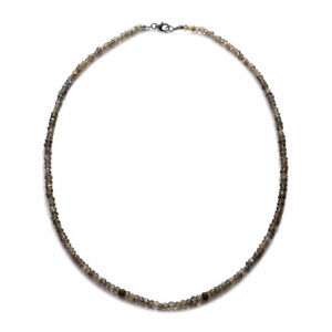 """925 Sterling Silver Labradorite Beads Necklace Rhodium Over Gift Size 18"""" Ct 37"""