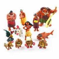 1 Set of 12 Disney Princess Moana Figures Figurines Cake Ornament Toy Doll 4-8cm