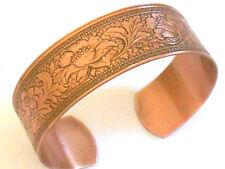 NEW PURE Copper Floral design Adjustable Cuff Bracelet Arthritis Relief Folklore
