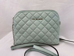 NWT Michael Kors Cindy LG Dome Soft Quilted Leather Crossbody Celadon LT Green