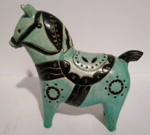 Vintage Sylvia Hood MCM Horse PONY Sculpture Blue Animal RARE WITH REPAIRED EAR