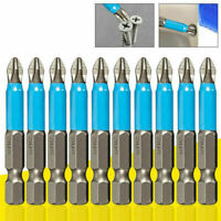 "10pcs 1/4"" Steel PH2 Phillips Magnetic Screwdriver Hex Shank 50mm Bits H Q6 S5R3"