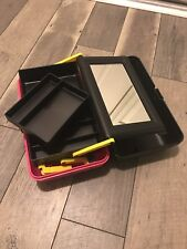 Caboodles Vintage 2-Tier Makeup Train Case with Mirror Pink black yellow Vtg