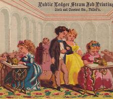 Sewing Sweatshop 1874 Steam Printer Public Ledger Philadelphia Advertising Card