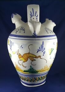 Exquisite Spanish Seville Botijo (Drinking Jug with Spout) 36cm tall.