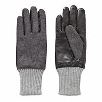 MENS FELT EVERYDAY GLOVES GREY SIZE S-M LEATHER PALM, GARDEN BACK & RIBBED CUFF