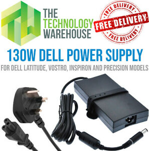 Genuine Dell 130W Charger - 19.5V 6.7A - AC Adapter + Optional power cable