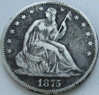 1875-S Seated Liberty Silver Half in a SAFLIP® - VF- (Fine+) Details