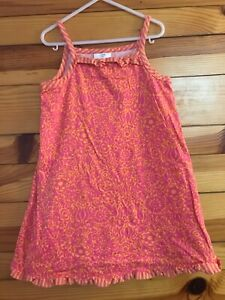Hanna Andersson Orange with Pink Floral Ruffled Dress Girls 110 5-6X