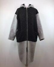 Whistles Midi Coat With Hood Wool Mix Grey Winter Size Medium Women's