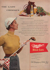 Lady Golfer Chooses Miller High Life Beer GOLF Knize Scarf 1952 Print Ad