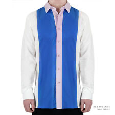 Raf Simons White Blue Pink Slim-Fitting Vetical Colour Block Shirt IT46 UK36