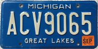 GENUINE American Michigan Great Lakes USA License Licence Number Plate ACV9065
