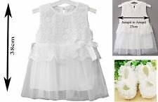Baby Girls White Daisy Embroidered Lace Lined Sleveless Dress & Shoes 6-12 Mths