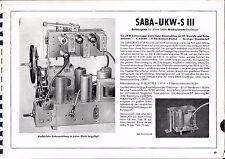 Service Manual-Anleitung für Saba UKW-S III   Baujahr 1952/53