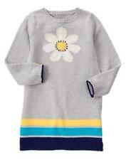 Gymboree Flower Power Gem Daisy Gray Multi Stripe Sweater Dress Girl Size 4 NEW